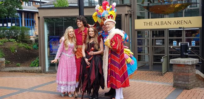 Stars of the new pantomime gather for photos outside Alban Arena