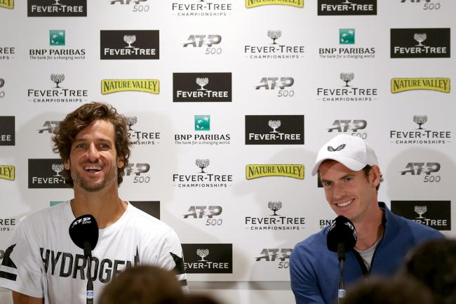 Feliciano Lopez, left, and Andy Murray will team up at Queen's on Thursday
