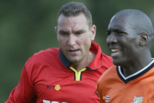 Celebrity football match featuring Vinnie Jones and John Fashanu
