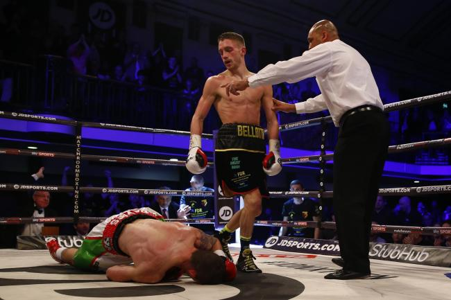Reece Bellotti during his fight with Dai Davies. Picture: Action Images