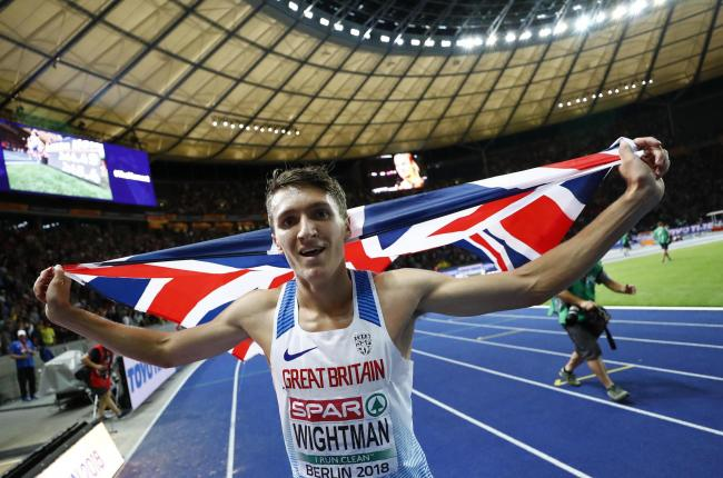 Jake Wightman celebrating his bronze medal at last year's European Championships. Picture: Action Images