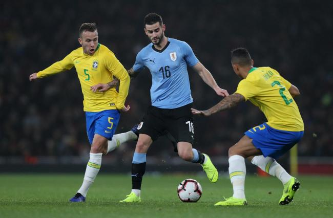 Gaston Pereiro on international duty with Uruguay. Picture: Action Images