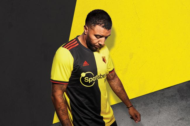 Troy Deeney models the new kit. Picture: Watford FC