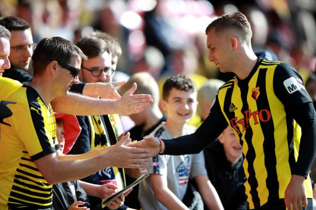 Gerard Deulofeu greets Watford fans. Picture: Action Images