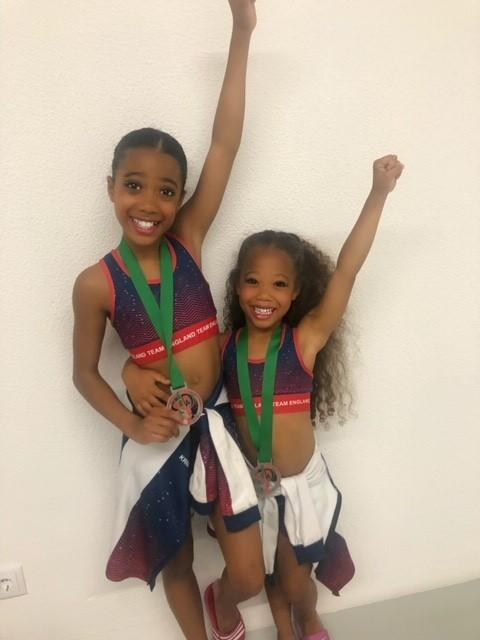 Kristen-Leigh (left) and Kamara-Mai Petit appeared at their first ever Dance World Cup
