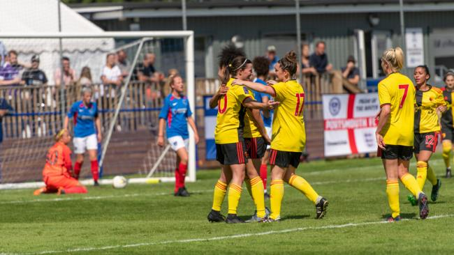 Helen Ward is congratulated on her second goal. Picture: Andrew Waller