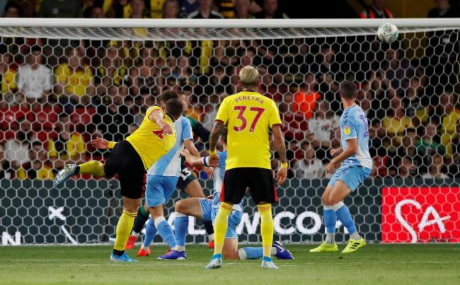 Daryl Janmaat scores against Coventry City in the Carabao Cup second round. Picture: Action Images