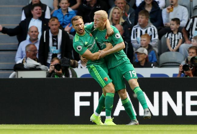 Tom Cleverley and Will Hughes celebrate Watford's early goal. Picture: Action Images