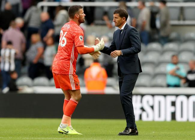 Javi Gracia and Foster after their game against Newcastle. Picture: Action Images