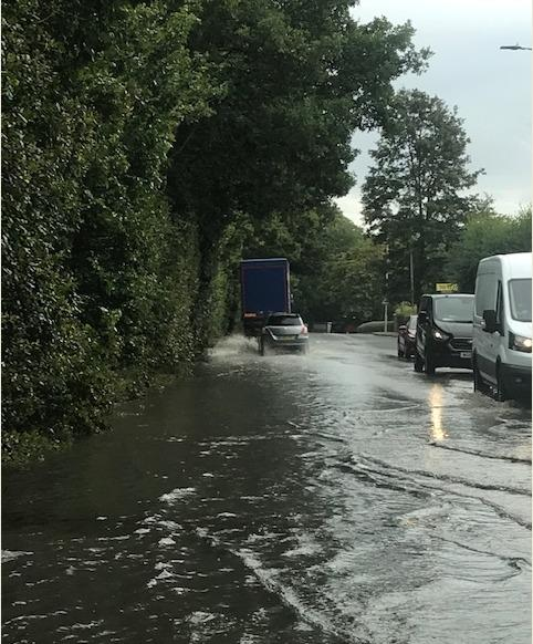 Flooding in Bushey this morning caused major traffic (Photo credit- Herts Highways)