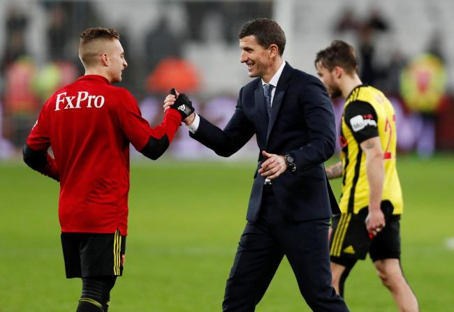 A smiling Javi Gracia and Gerard Deulofeu. Picture: Action Images