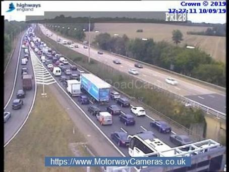 Queues on the northbound carriageway. Credit: Highways England