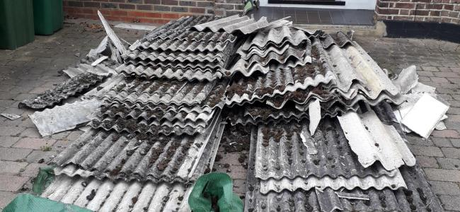 The Asbestos roofing was left at Orchard Close