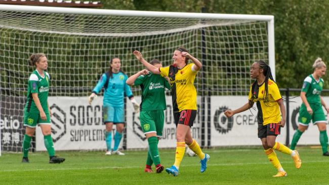 Helen Ward celebrates against Yeovil. Picture: Andrew Waller