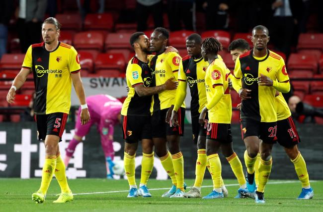 Watford celebrate Danny Welbeck's first Watford goal. Picture: Action Images