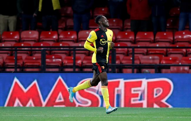 Danny Welbeck celebrates his first goal for Watford. Picture: Action Images