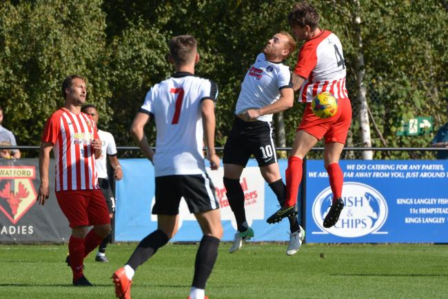 Harry Crawford (number 10) was in eye-catching form for Kings Langley last night. Picture: Chris Riddell