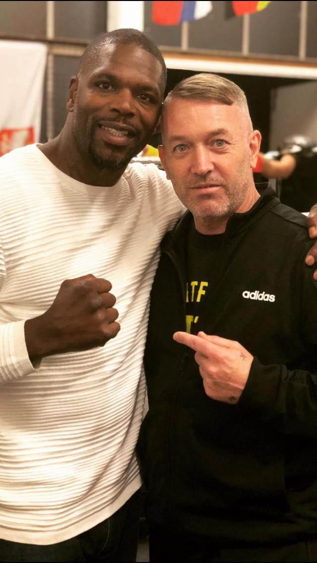 Knife crime campaigner Mark Prince (left) pictured with local boxing club owner Ricky English