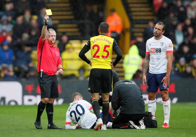 Jose Holebas picks up a yellow card against Bournemouth. Picture: Action Images