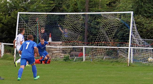 Andy Brennan celebrates his last-gasp winner against Dunstable Town. Picture: John Elliott