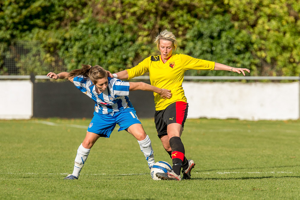 Emma Beckett scores directly from kick off for Watford Ladies against Oxford United