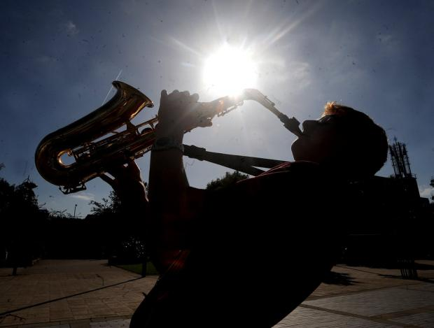 Watford Observer: Harry Pilling,15, on saxaphone with his band Tradtastic at the World Mile Festival