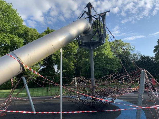 The damaged playground has been repaired at a cost of more than £100,000