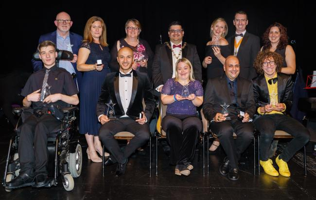 The awards winners at the event with Peter Taylor (Photo credit Watford Council)
