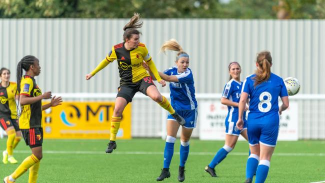 Helen Ward scores against Gillingham Ladies. Picture: AW Images