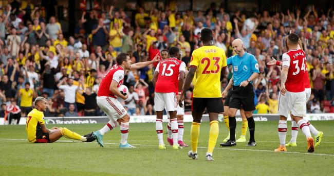 Anthony Taylor awards Watford a penalty. Picture: Action Images