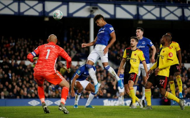 Holgate opens the scoring for Everton. Picture: Action Images