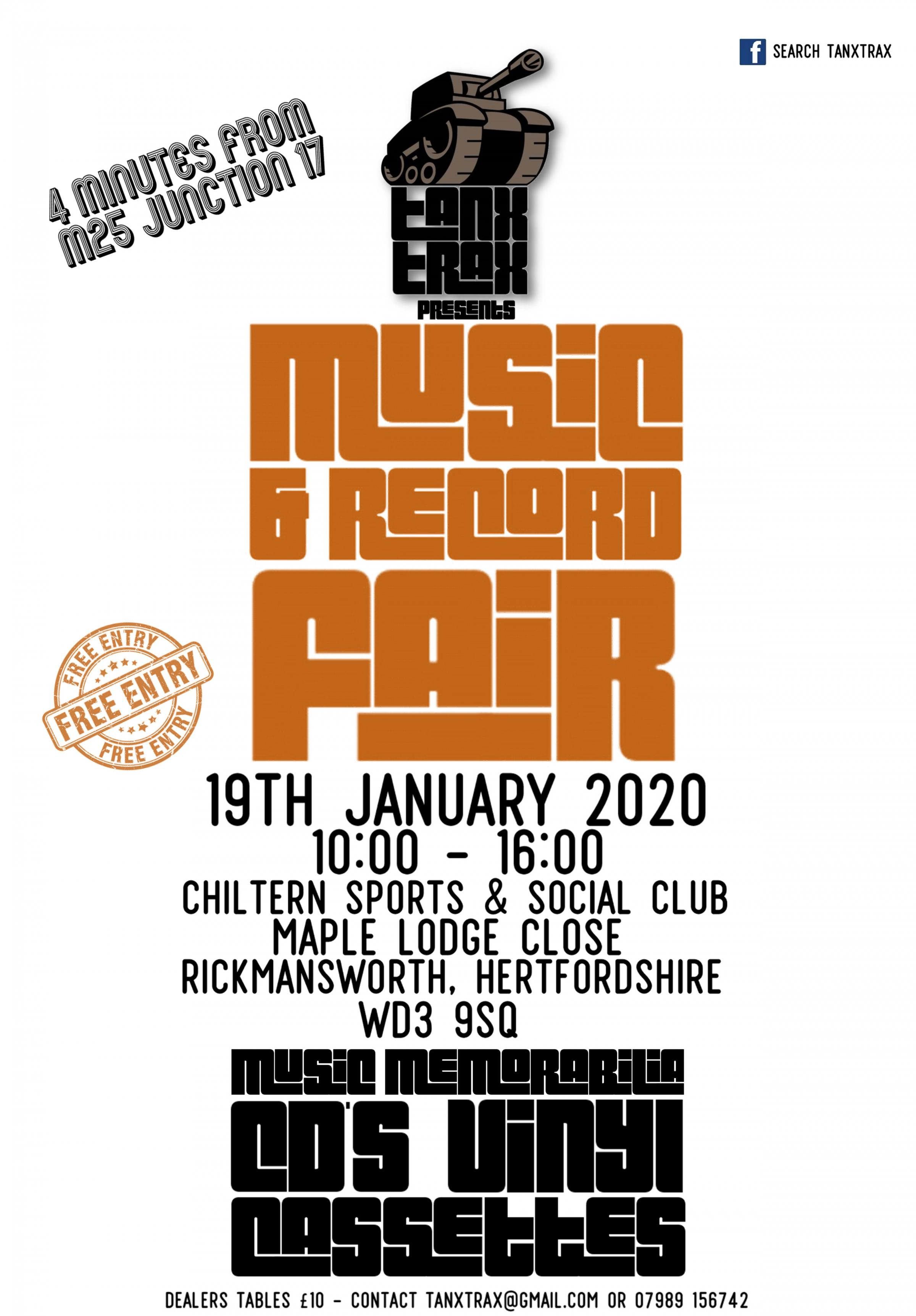 Tanx Trax Record Fair - 19th January 2020 - Rickmansworth