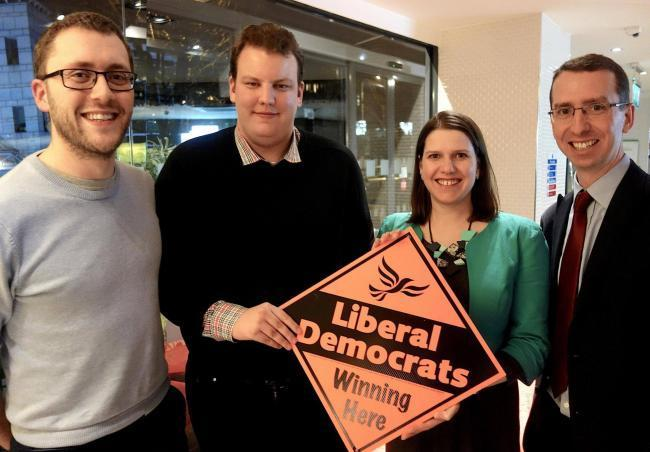 Pictured, (left to right), Cllr Ian Stotesbury, Liberal Democrat Parliamentary Candidate for Watford, Alex Murray, former Green Parliamentary Candidate for Watford, Jo Swinson MP, leader of the Liberal Democrats and Mayor of Watford Peter Taylor