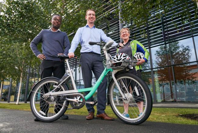 Mayor of Watford Peter Taylor, centre, is launching a bike hire scheme in Watford. Also pictured: Kate Jenkins, director and general manager at Watford Cycle Hub and Jermaine Downer, a council officer who cycles to work.Photo credit : Simon Jacobs