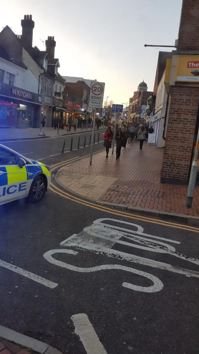 Police in Watford High Street on Thursday. Credit: Red Eagle Buses