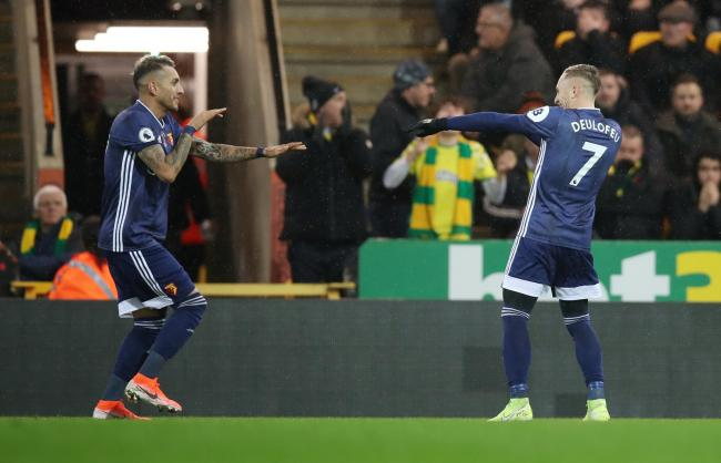 Roberto Pereyra was taken off against Norwich with a hamstring injury. Picture: Action Images