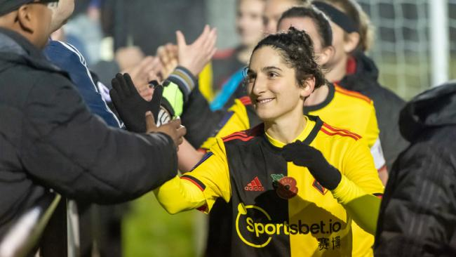 Andrea Carid after Watford Ladies' win over Keynsham Town. Picture: Andrew Waller
