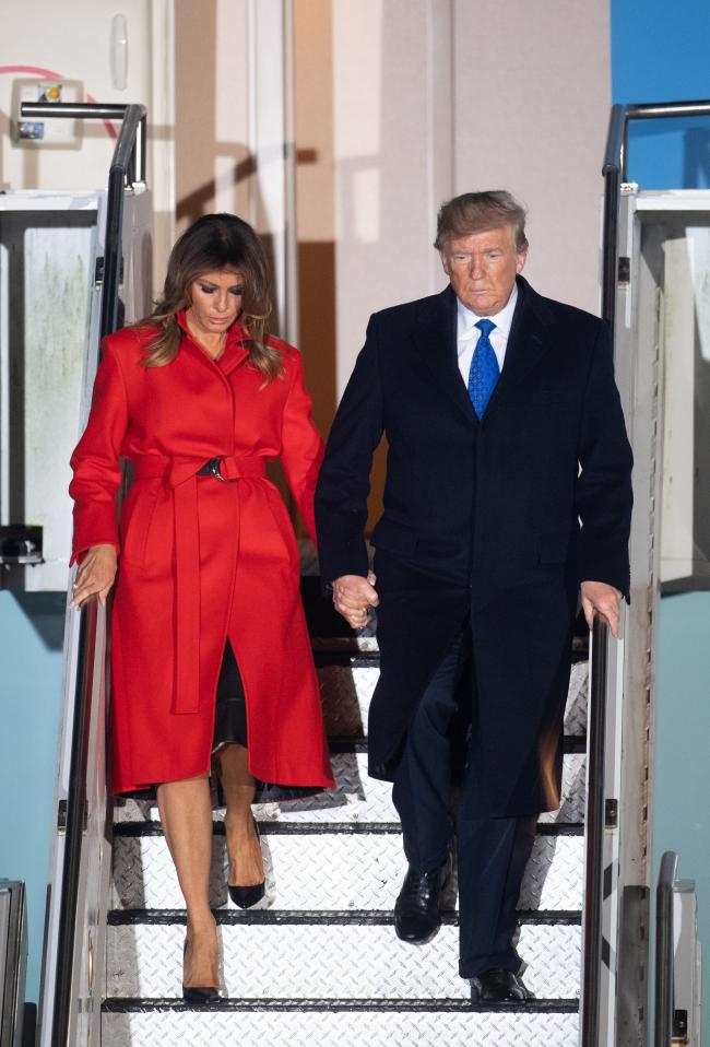 US President Donald Trump and wife Melania arrive at Stansted Airport this evening. Credit: PA