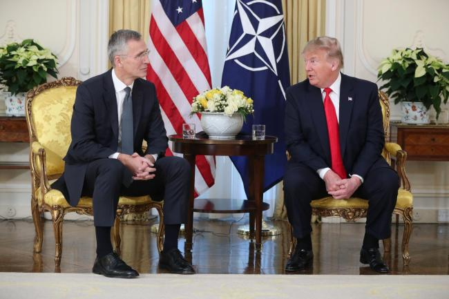 US President Donald Trump (right) at a breakfast meeting with Nato Secretary General Jens Stoltenberg at Winfield House, the residence of the Ambassador of the United States of America to the UK, in Regent's Park, London. Credit: PA