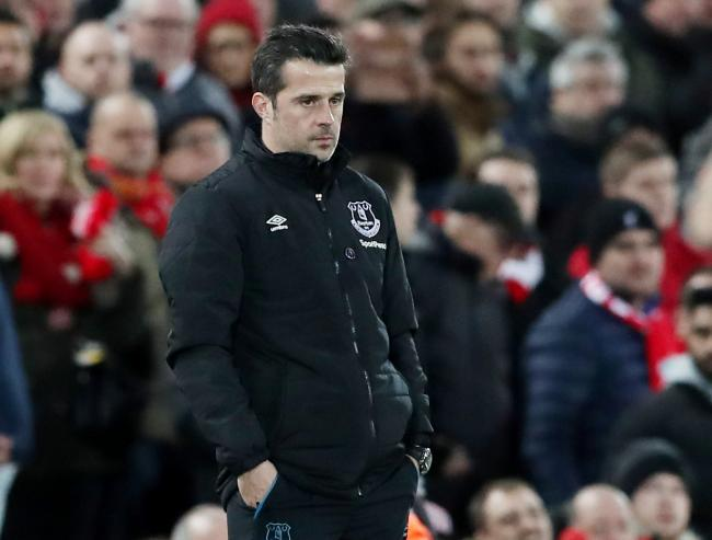 Marco Silva on the touchline in last night's Merseyside derby. Picture: Action Images