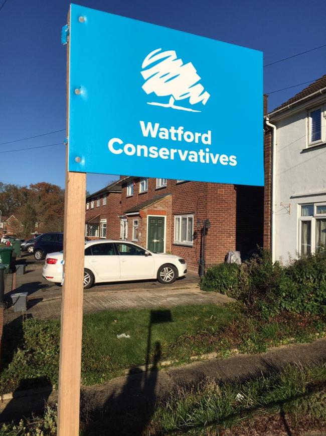 One board without an imprint on in Watford (Photo Mike Jackson)