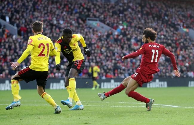 Mo Salah curls in Liverpool's first goal. Picture: Action Images