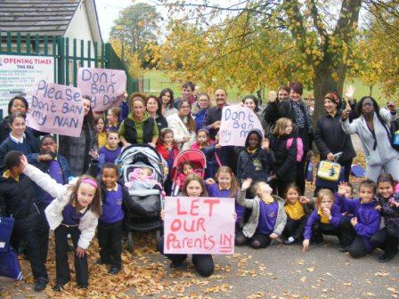 Parents make their feelings known outside the Harwoods play area