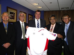 Blackburn boss Sam Allardyce is alongside Jose Mari Martinez and Leo Jensen