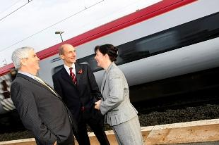 Watford MP Claire Ward with Lord Andrew Adonis (centre) - secretary of state for transport and Councillor Robert Gordon.