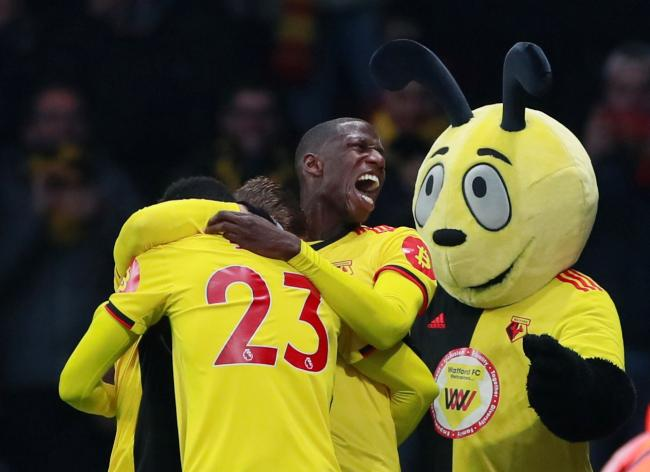 Watford players celebrate their first goal against Wolves. Picture: Action Images