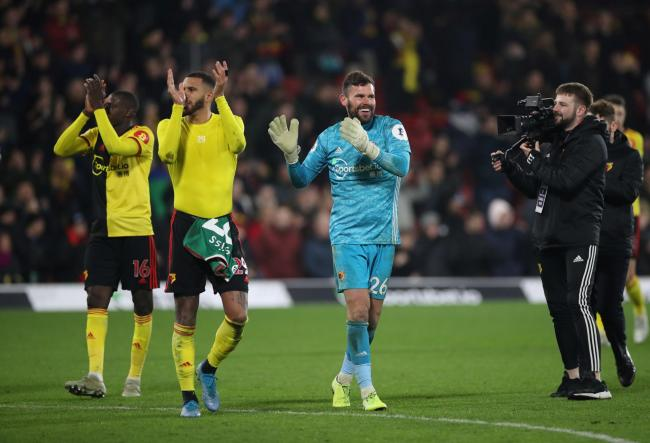 Watford players celebrate their win over Wolves. Picture: Action Images