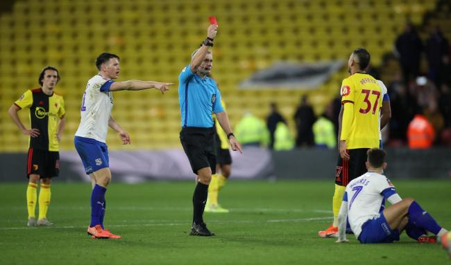 Roberto Pereyra received a red card during the FA Cup match with Tranmere. Picture: Action Images