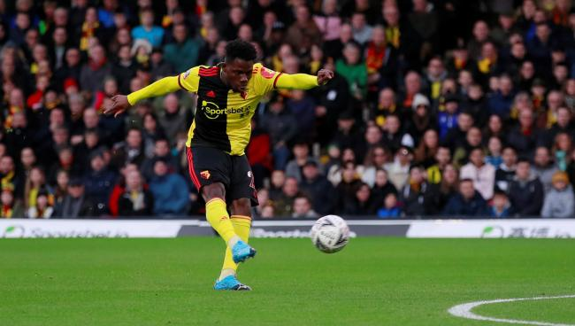Tom Dele-Bashiru scores the opening goal in Watford's draw with Tranmere. Picture: Action Images