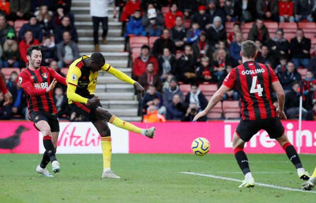 Abdoulaye Doucoure scores Watford's first goal against Bournemouth. Picture: Action Images